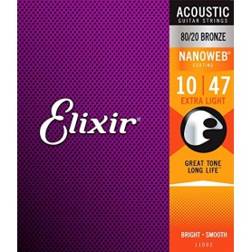 Elixir 11002 Nanoweb Extra Light Acoutic Strings 10-47