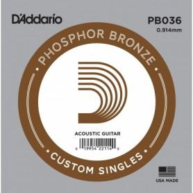Cuerda suelta D´Addario PB036 acústica Phosphor Bronze