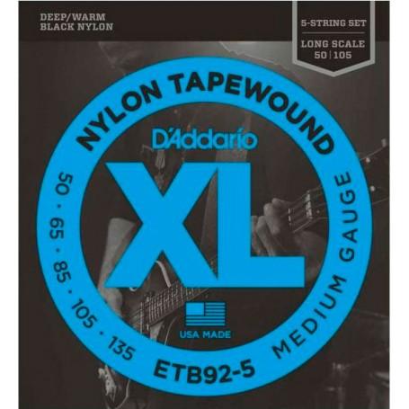 D´Addario ETB92-5 Black Nylon Tapewound 50-135