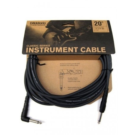 Cable de Instrumento Planet Waves Classic Series Jack-Codo PW-CGTRA-20 6.10m.