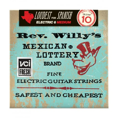 Cuerdas Eléctrica Dunlop Rev. Willy´s Mexican Lottery Brand 10-46