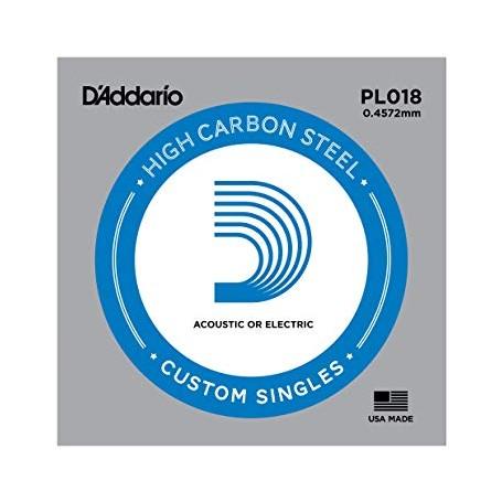 Cuerda suelta D´Addario PL018 plana para eléctrica y acústica