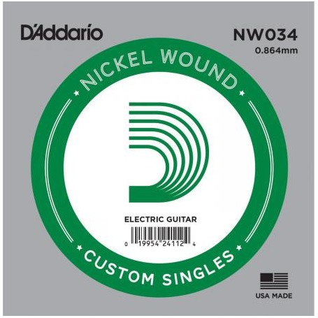 D'Addario Nickel Wound Electric Single String NW034