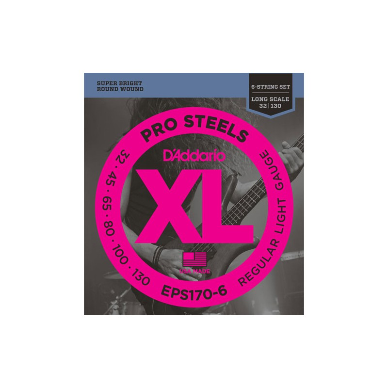 Cuerdas-Bajo-D´Addario-EPS170-6 Pro Steels 32-130 6 Strings