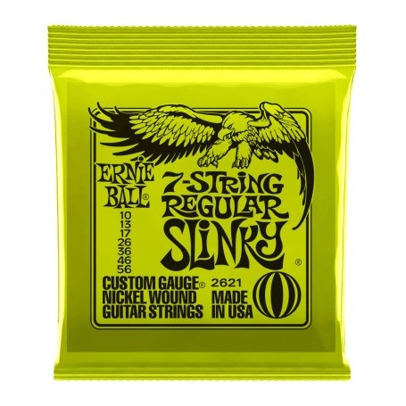 Cuerdas Eléctrica Ernie Ball 7 String Regular Slinky 2621 10-56