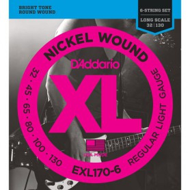 Cuerdas Bajo D´Addario EXL170-6 Nickel Wound 32-130 6 strings