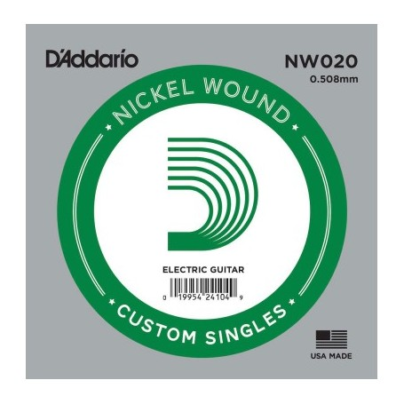 D'Addario Nickel Wound Electric Single String NW020