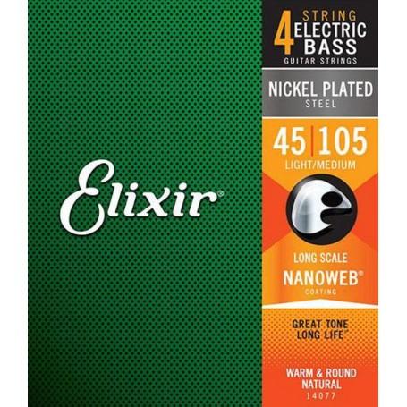 Elixir Nanoweb Medium Bass Strings 45-105