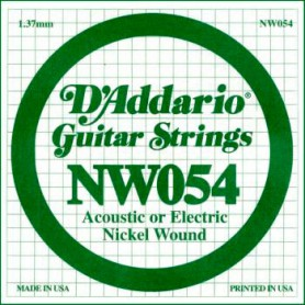 D'Addario Nickel Wound Electric Single String NW054