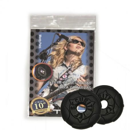 Cierre de seguridad TEF Black Extrafuerte para guitarra/bajo