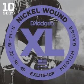 Cuerdas-Eléctrica-D´Addario EXL115-10P Nickel Wound 11-49