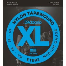 Cuerdas Bajo D´Addario ETB92 Black Nylon Tapewound 50-105