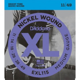 Cuerdas Eléctrica D´Addario EXL115 Nickel Wound 11-49