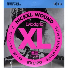 Cuerdas Eléctrica D´Addario EXL120 Nickel Wound 09-42 Super Light Gauge