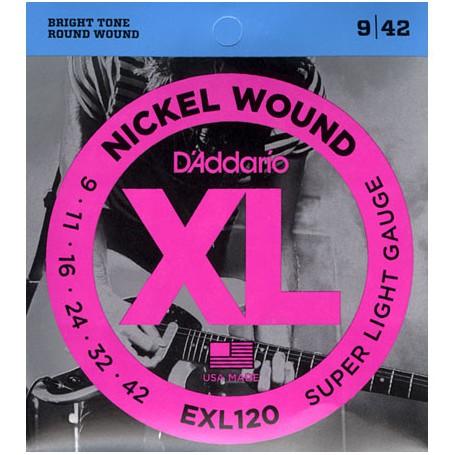 Cuerdas Eléctrica D´Addario EXL120 Nickel Wound 09-42 Super Light Gauge