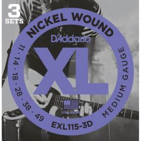 Cuerdas Eléctrica D´Addario EXL115-3D 11-49 3 sets