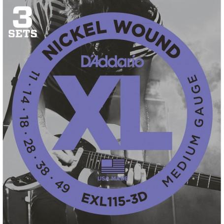Cuerdas Eléctrica D´Addario EXL115-3D Nickel Wound 11-49