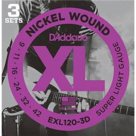 Cuerdas Eléctrica D´Addario EXL120-3D 09-42 3 sets