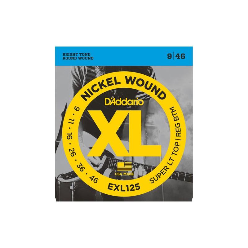 Cuerdas Eléctrica D´Addario EXL125 Nickel Wound 09-46 Super Light Top/Reg. Bottom