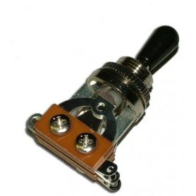 Selector Toggle Gotoh de 3 Posiciones Tipo LP con pivote negro.