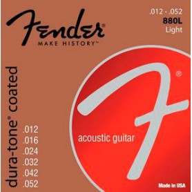 Cordes d'Acústica Fender 880L Dura-Tone Coated 80/20 Bronze 12-52 Light
