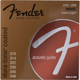 Fender 880XL Dura-Tone Coated 80/20 Bronze Acoustic Guitar Strings 10-48 Extra Light
