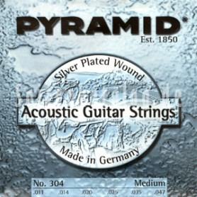 Pyramid Acoustic Guitar Strings Silver Plated Round Wound Medium 11-47