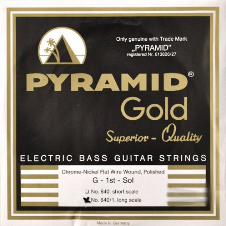 Cuerdas de Bajo Pyramid 640/A Gold Chrome Nickel Flatwound Bass Strings 45-105