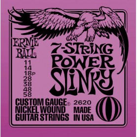 Ernie Ball 7 Strings 2620 Power Slinky Electric Strings 11-58