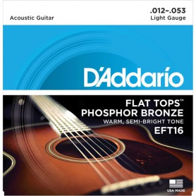 D´Addario EFT16 Flat Tops Acoustic Strings 12-53