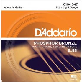Cordes Acústica D'Addario EJ 15 Phosphor Bronze 10-47