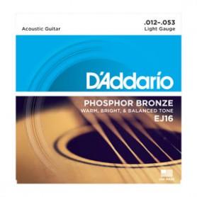 Cordes Acústica D'Addario EJ 16 Phosphor Bronze 12-53