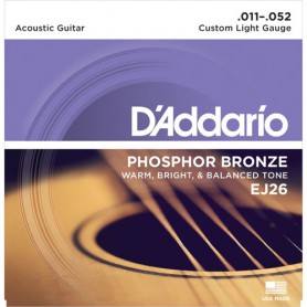 Cuerdas Acústica D´Addario EJ26 Phosphor Bronze 11-52 Custom Light