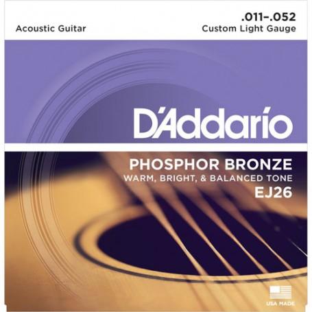 Cuerdas-Acústica-D'Addario-EJ26 Phosphor Bronze Custom Light 11-52