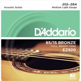Cuerdas Acústica D´Addario EZ920 Great American Bronze 80/15 12-54