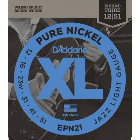 Cuerdas Eléctrica D´Addario EPN21 Pure Nickel 12-51 Jazz Light Gauge