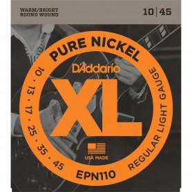 Cuerdas Eléctrica D´Addario EPN110 10-45 Pure Nickel Regular Light Gauge