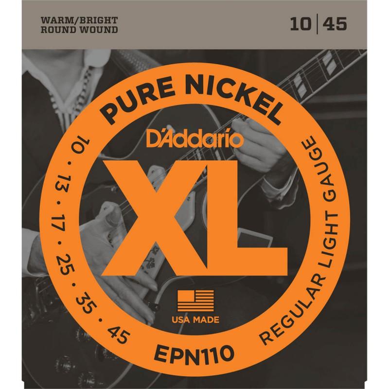 Cuerdas Eléctrica D´Addario EPN10 Pure Nickel 10-45 Regular Light Gauge