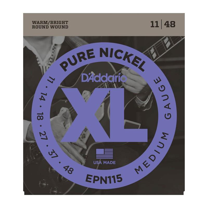 Cuerdas Eléctrica D´Addario EPN115 Pure Nickel Medium Gauge 11-48