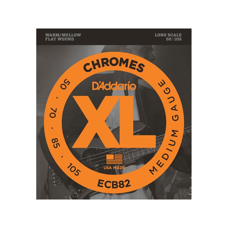 Cuerdas Bajo D'Addario ECB82 Chromes Flat Wound 50-105 Medium Gauge