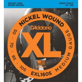 Cuerdas Bajo D´Addario EXL160S Nickel Wound Short Scale 50-105