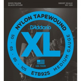 D´Addario ETB92S Black Nylon Tapewound Short Scale Bass Strings 50-105
