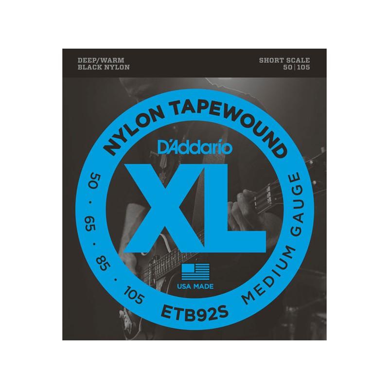 Cuerdas Bajo D'Addario ETB92S Nylon Tapewound Short Scale 50-105