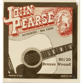 John Pearse 200L 80/20 Bronze Light 12-53 Acoustic Strings