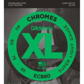 Cuerdas Bajo D´Addario Chromes ECB80 Flatwound 40-95