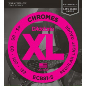 Cordes Baix D'Addario Chromes ECB81-5 Flatwound 45-132 5 Strings
