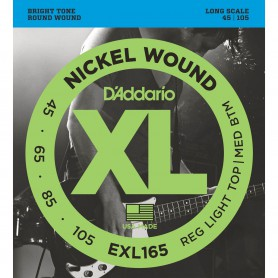 Cuerdas Bajo D'Addario EXL165 Nickel Wound 45-105 Long Scale