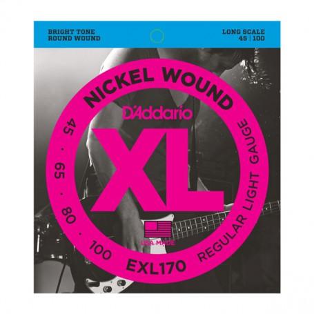Cuerdas Bajo D´Addario EXL170 Nickel Wound 45-100 Long Scale