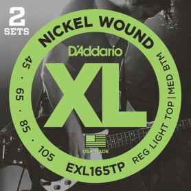 Cordes Baix D'Addario EXL165TP Nickel Wound 45-105 2 Sets