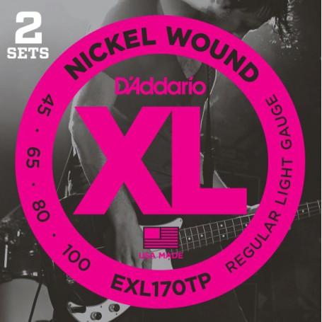Cuerdas Bajo D´Addario EXL170TP Nickel Wound 45-100 2 Sets